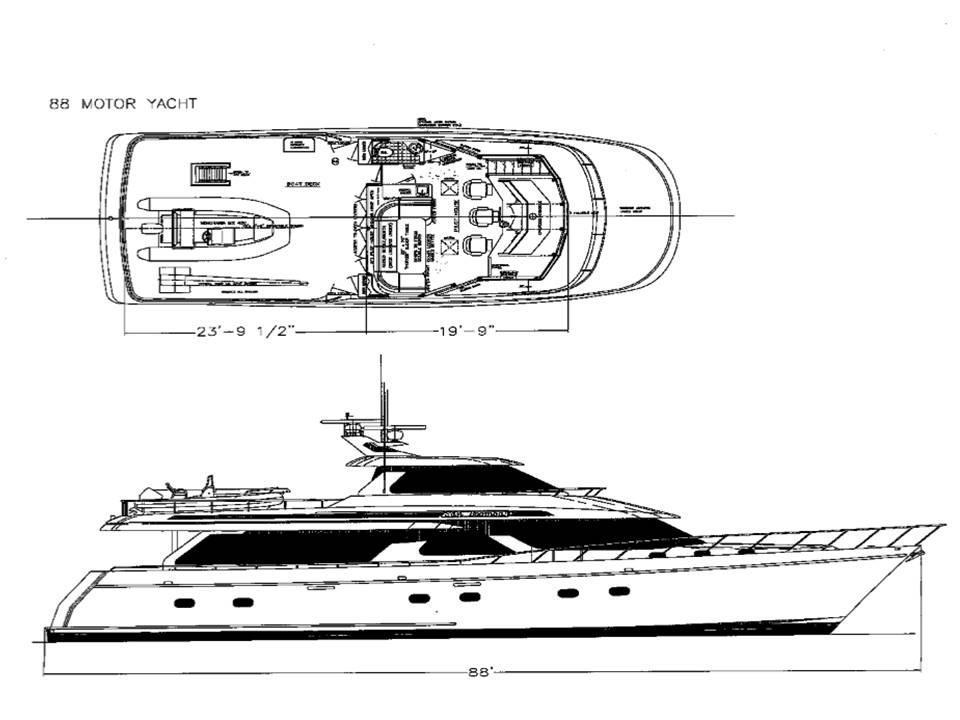 90 Ocean Alexander Profile & Sky Lounge Layout