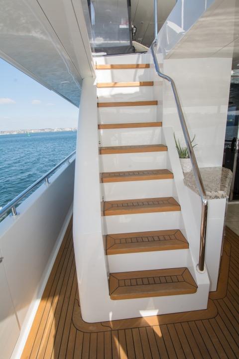 85 Ocean Alexander Staircase to boat deck