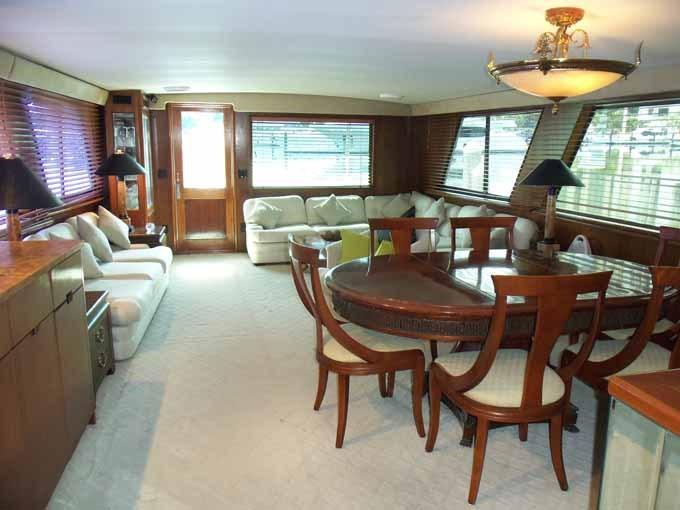77 Hatteras Salon Looking Aft