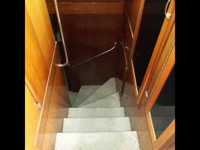 77 Hatteras Forward Stairs from Pilothouse