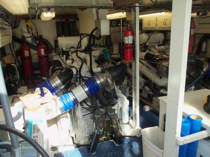 77 Hatteras Engine Room Looking Forward