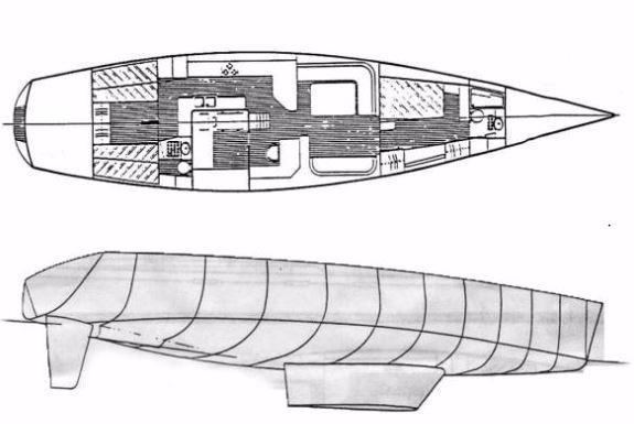 62 Deerfoot Deerfoot 62' - Layout with hull lines