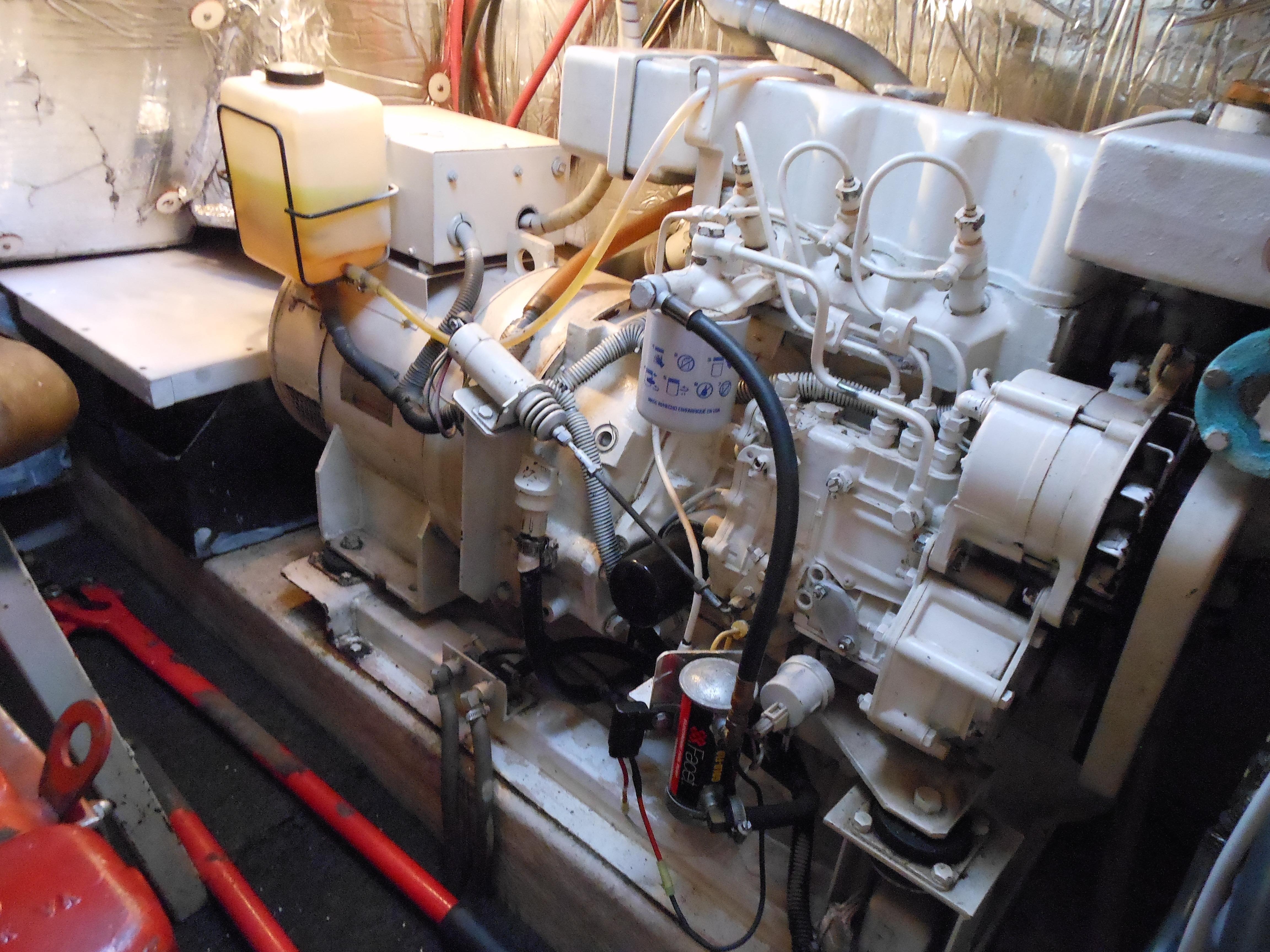 57 Wellington 12KW Northern Lights generator to port