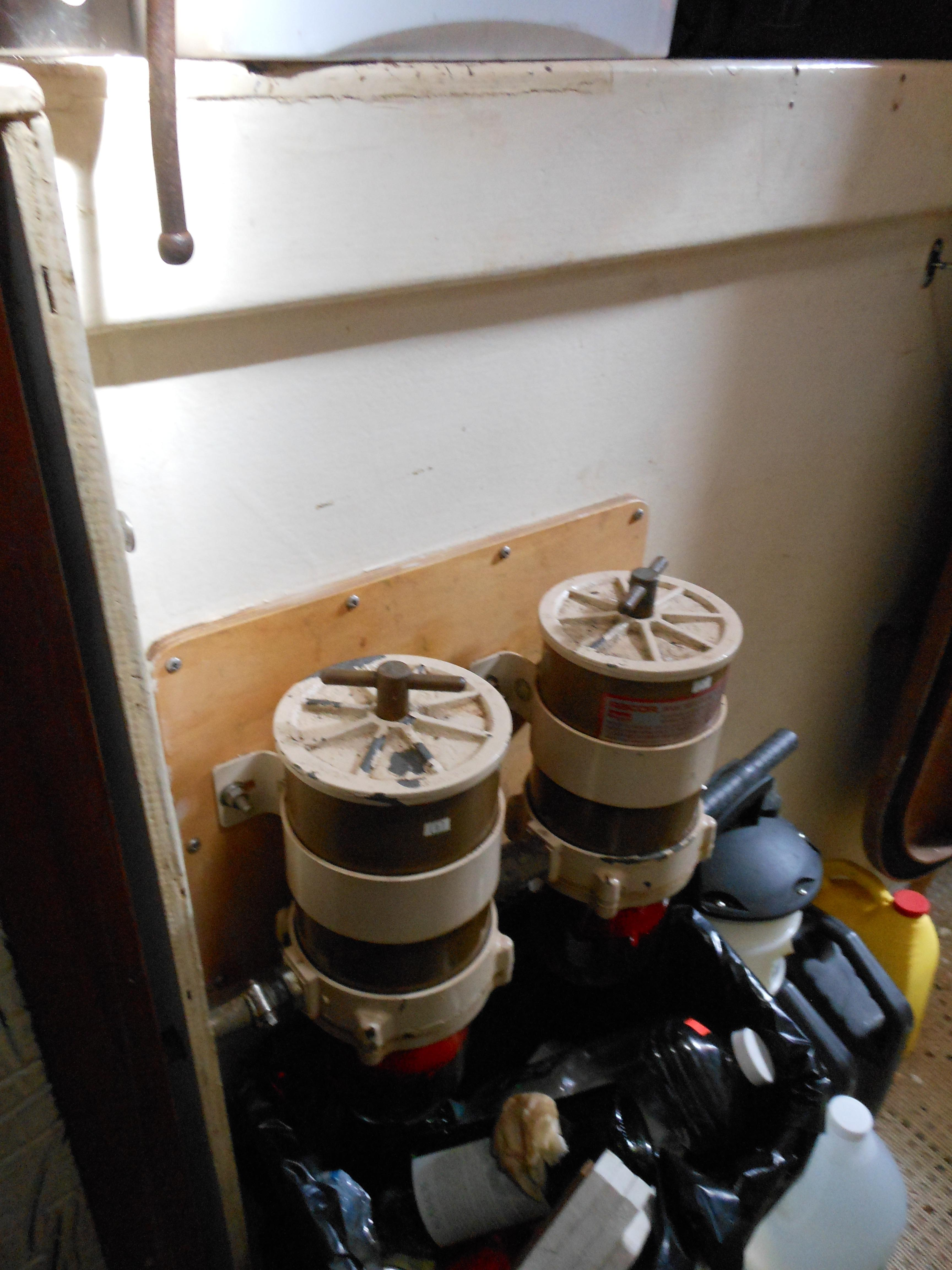57 Wellington Dual Racor fuel filters outside ER