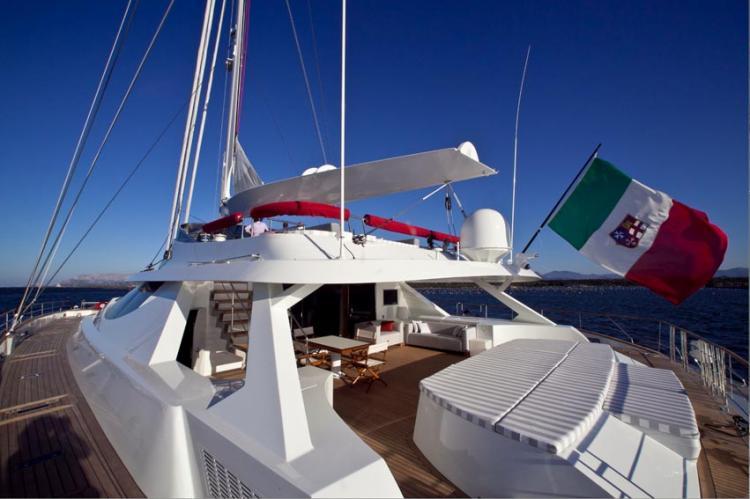 Sailing Catamaran LA SELLA DEL DIAVOLO - Aft Deck and Sunpads