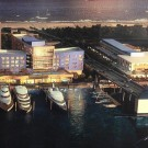 This view of a proposed development of the Las Olas Marina with a 220-room hotel to the left, on the north side of Las Olas Boulevard, and a restaurant, office and parking complex to the right, on the south side of Las Olas.