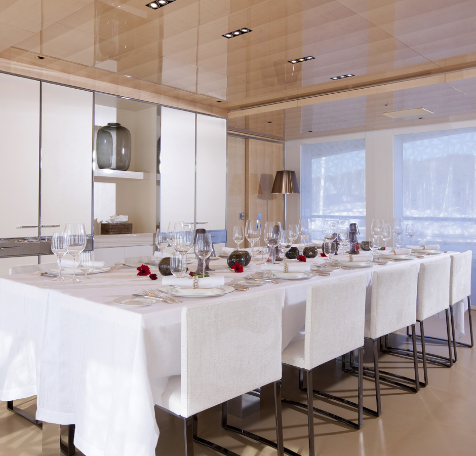 The dining room provides a modern yet elegant atmosphere