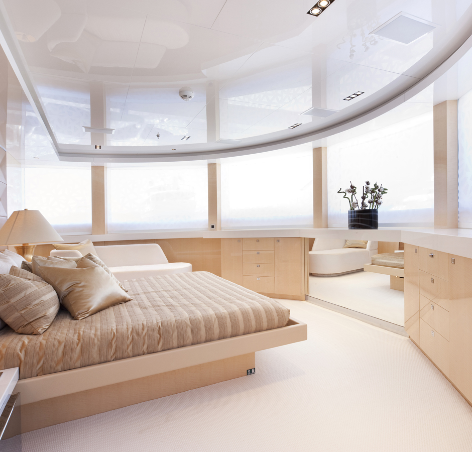 Her master stateroom offers breathtaking views from any vantage point
