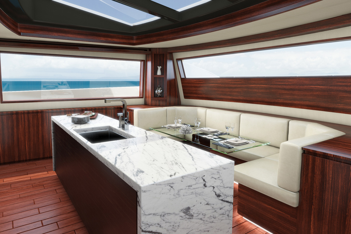 Hatteras M90 — Spacious Galley