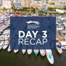 aerial view of yachts on day 3 at the 2021 palm beach boat show