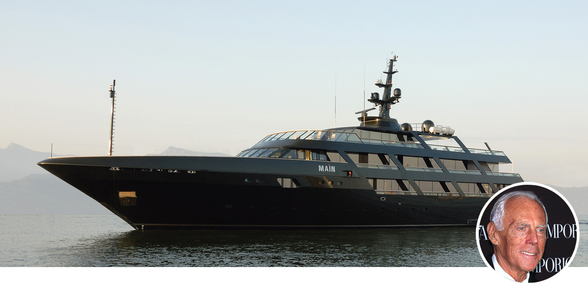 Giorgio Armani with his yacht, Main.