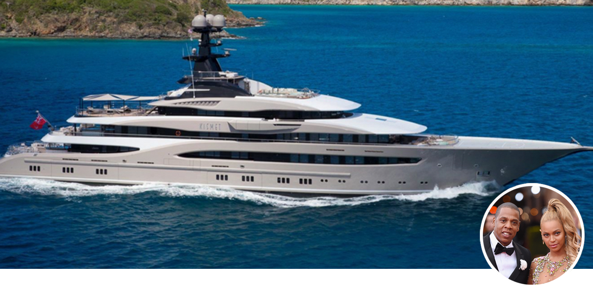 Kismet owned by Shahid Khan. Beyonce and Jay-Z have chartered the superyacht.