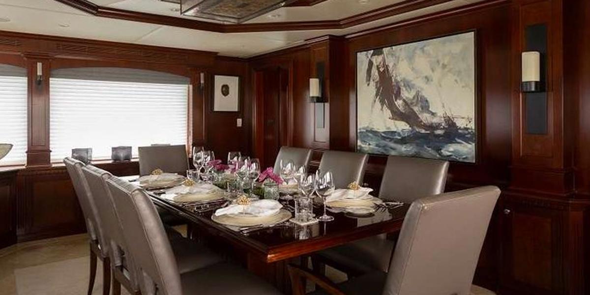 ODIN 126' Trinity's formal dining room