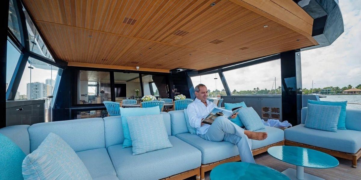 Roberto Abourmrad aboard an Alpha Custom Yacht